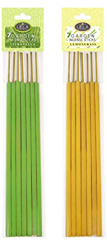 LIELA - Garden and Outdoor incense Sticks ; Mosquito Repellent 7 Sticks Fragrance Citronella and Lemon Grass; Each 16-Inch -Set of 2