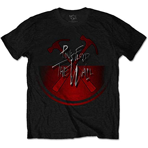 Pink Floyd The Wall Oversized Hammers Camiseta, Negro (Black Black), Medium para Hombre