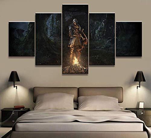 Impresiones En Lienzo 5 Piezas De Cuadros Arte De La Pared Juego Dark Souls Imágenes Animadas Decoración para El Hogar,B,30 * 40 * 2+30 * 60 * 2+30 * 80 * 1