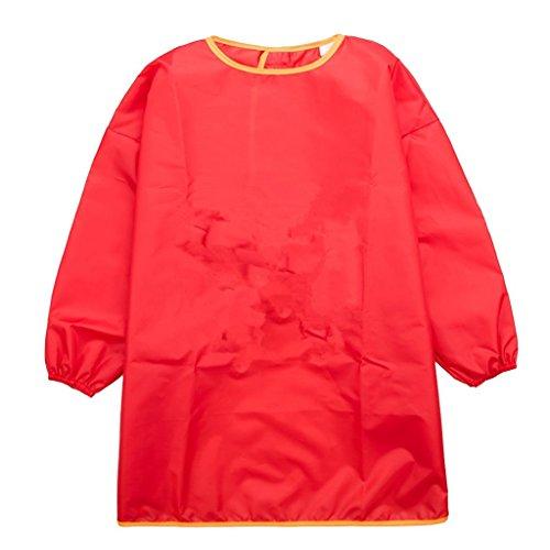 Kinder Malkittel, Kinder Bastelkittel, Bastelschürze, Kinder Schürze - Malschürze mit Langarm(Rot,Groß)