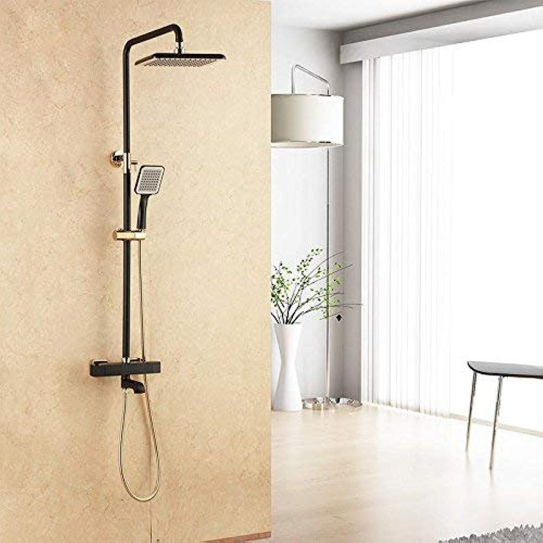 Whgz Im europischen Stil schwarz lackiert Duschset Wandmontage Vollkupfer Mischwasserhahn groer Duschsatz