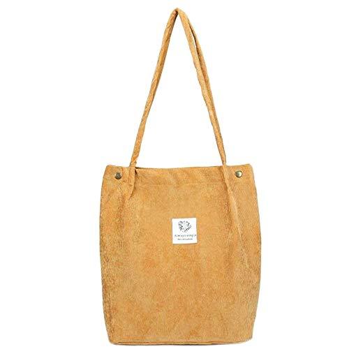 Bolsa de pana para mujer y niñas, bolsa de compras reutilizable de gran capacidad, bolsa de hombro informal, Orange, Talla única
