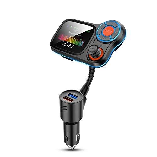 HSD Transmisor FM inalámbrico Bluetooth, pantalla a color de 1,77 pulgadas, subwoofer con un botón y luz ambiental que permiten la carga rápida de QC3.0, adecuado para la mayoría de los modelos.