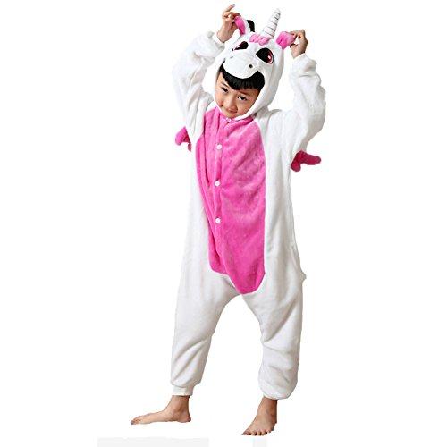 JunYito Meisjes Jongens Volwassenen Pyjama Flanellen Dier Kostuum Kleding Cosplay Eenhoorn Slaapmode voor Kinderen Vrouw Man