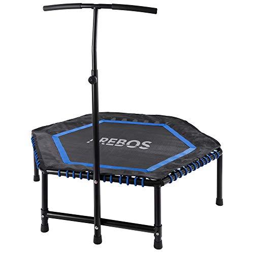 Arebos Fitness Trampolín Fitness trampolín Trampolin con agarre/Max hasta 120 kg/TÜV test/Fitness Rebounder para entrenamiento corporal y de cardio Workouts/silenciosa de goma / Hexagonal/Azul