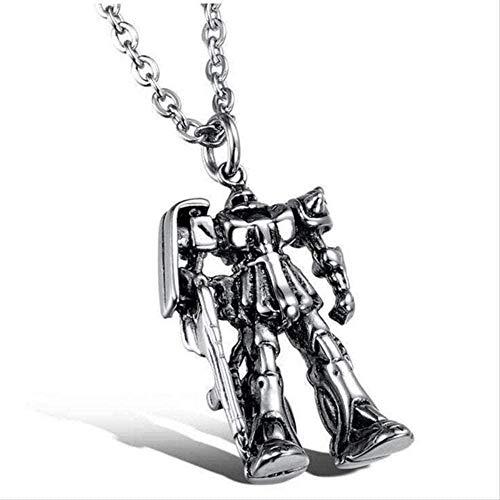MNMXW Collar con Colgante de Robot de aleación de Metal para Hombres Collar mecánico Armado Guerrero de Hierro Pistola de Pistola Collar de joyería Masculina para niño Collar Colgante Niña niño