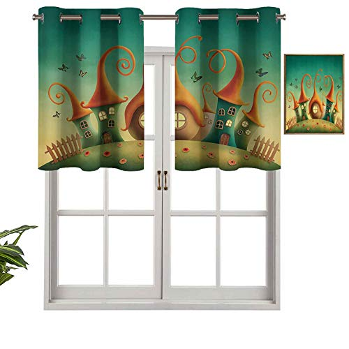 Hiiiman Grommet Valance Blackout Curtain Fantasy Houses in The Meadow Countryside with Daisies Butterflies Fence Design, Set of 1, 54'x18' for Bedroom Living Room