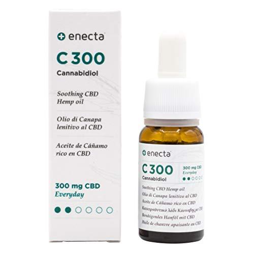 Enecta C300 - Olio all'estratto di Canapa italiana con CBD 3%. Ipoallergenico, certificato e testato dermatologicamente sulle pelli più sensibili. Confezione da 10 ml con pratico contagocce.