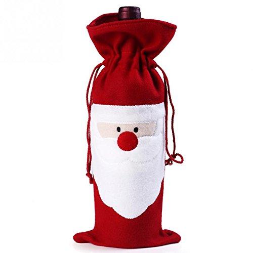 Bei Wang 1Pcs de Navidad Vino rojo de Papá Noel Cubierta Botella Bolsas de mesa de Navidad Cena de decoración del...