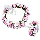 PROKTH Blumenkranz Einstellbar Haare Blumen Haarschmuck Blumenstirnband und Floral Handgelenk