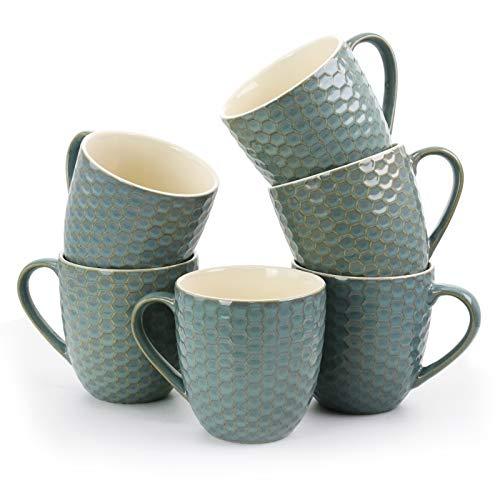 Elama Honeycomb 6 Piece Embossed Stoneware Extra Large 15 Ounce Coffee and Tea Mug Gift Set in Turquoise