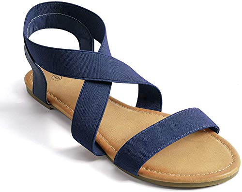 Soles & Souls Elastic Ankle Strap Sandals for Women Flat Navy Blue 8