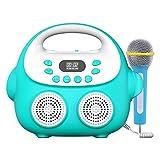 SM SunniMix Kid Karaoke Machine Learning Toys Material plástico ABS Niños Niñas Regalos con micrófono Bluetooth para Fiestas Viajes Interior al - Blue