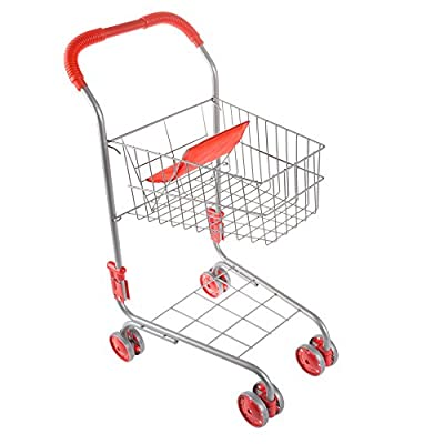Pretend Play Shopping Cart- Toy Grocery Cart With Pivoting Front Wheels and Folds for Easy Storage for Kids, Boys and Girls By Hey! Play! by Trademark GLB