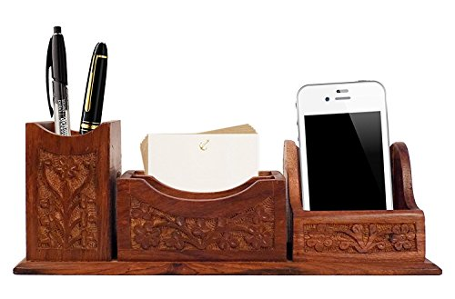 Chritmas Gift/Chritmas Sale Crafts'man Beautiful Indian Handcrafted Wooden Office Table Desktop Mobile phone holder. pen and paper note holder
