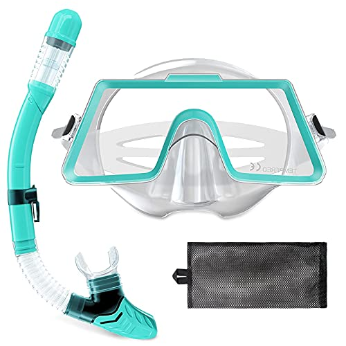 Tongtai Snorkel Gear for Adults with Panoramic Snorkel Diving Mask&Dry Top Snorkel Set   Diving Snorkeling Mask for Adult Men Women Teens for Swimming