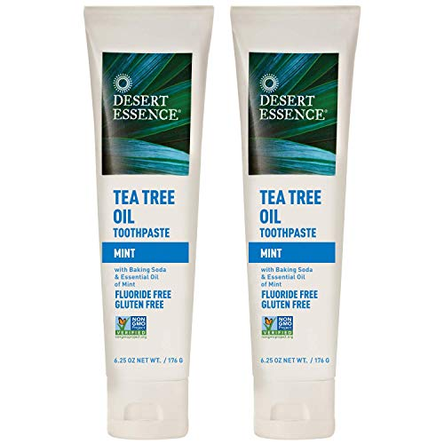 Desert Essence Tea Tree Oil Toothpaste - Mint - 6.25 Oz - Pack of 2 - Refreshing Taste - Deep Cleans Teeth & Gums - Helps Fight Plaque - Sea Salt - Pure Essential Oil - Baking Soda