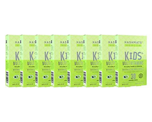 Special Bundle 8X HASHMATS Health Kids 4+ Multivitamins Natural Mango (30 Chewable Tablets) | 22 NUTRIENTS | Vitamin D3 Iron Omega-3 | UK Halal & Vegetarian Supplement