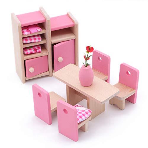 POFET Bambini Sala da Pranzo in Legno Casa delle Bambole Mobili in Miniatura Tavolo da Pranzo Sedie Armadietto Giocattolo Set Bambola Famiglia Fai Fin