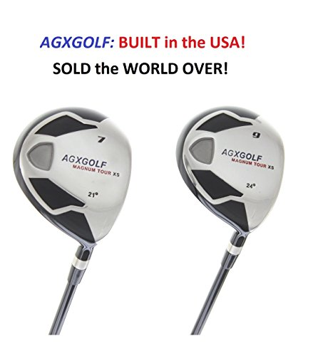 AGXGOLF Men's Magnum 7 + 9 Fairway Utility Woods Set Senior Flex, Regular Length Graphite Shafts + Head Covers Right Hand