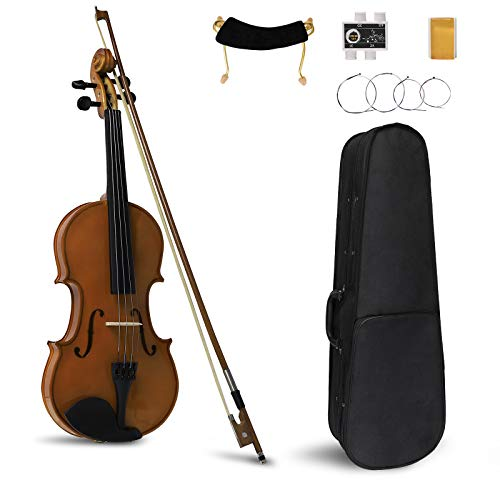 WREA 3/4 Acoustic Natural Violin, Handmade Student Acoustic Violin Set,New Version Violin Starter Kit with Case Bow Rosin Strings Tuner Shoulder Rest,Gift for Beginners and Students