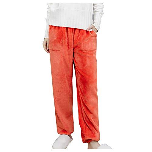 Pantalones de pijama de franela sólida, para invierno, ropa de dormir elástica, con bolsillos