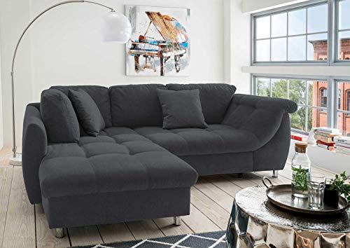 lifestyle4living Ecksofa mit Schlaffunktion in Schwarz mit großen Rücken-Kissen, Microfaser-Stoff | Gemütliches L-Sofa mit Longchair im modernen Look