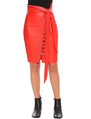 Zeagoo Women Slim Pencil Skirt High Waist Leather Midi Skirts with Zipper Belt and Lace-up