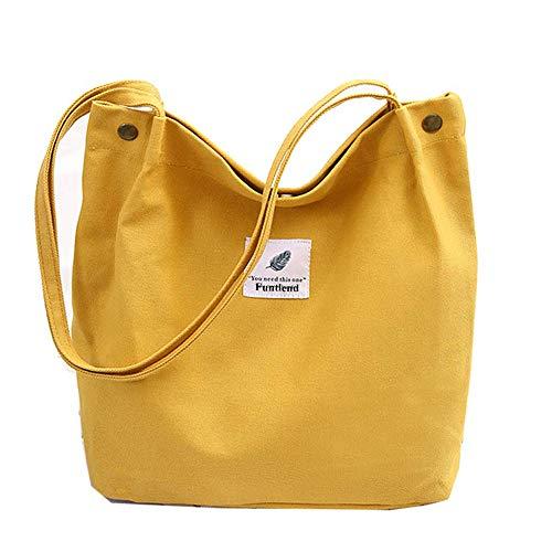 Funtlend Damen Handtasche Groß Canvas Tasche Damen Umhängetasche Henkeltasche Damen für Mädchen Schule Uni-Upgraded-40 * 35 * 11 (Gelb)
