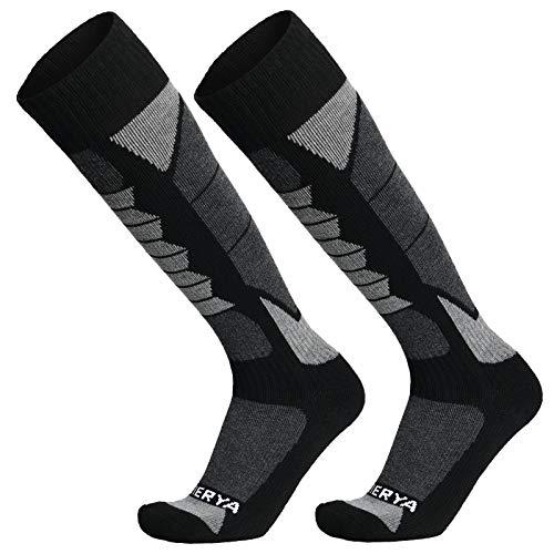 WEIERYA Ski Socks 2-Pack Merino Wool, Anti-Pilling Wool Skiing Socks, Suitable For Men & Women Grey Large