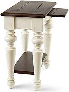 Steve Silver Wesley Chairside End Table in Walnut and White