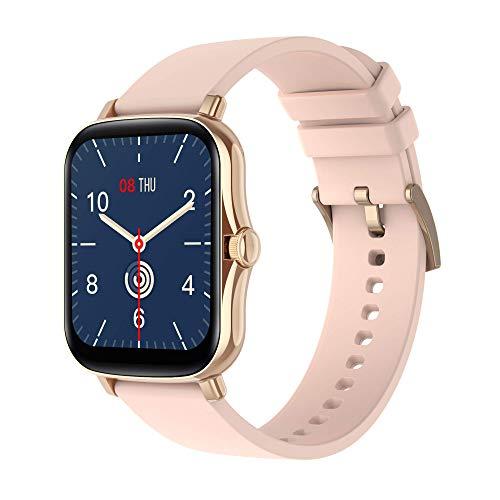 Reloj inteligente de 1,69 pulgadas para hombre y mujer con saturímetro de medición de la presión arterial monitorización de la salud funciones deportivas para Android e iOS (oro rosa)