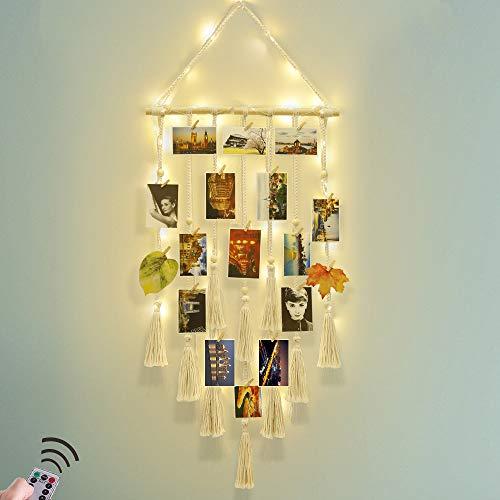Hanging Photo Display Wall Decor - Macrame Wall Decor Hanging Remote Fairy...