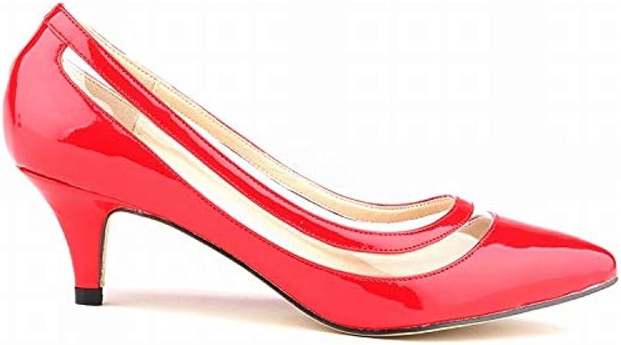 FLYRCX Mode Simple Sexy Pointu Bouche Peu Profonde Couture Transparente Talons Aiguilles élégant tempéraHommest Bureau Travail Chaussures Les Les Les dames Chaussures Simples
