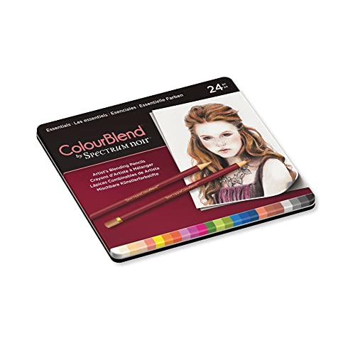 Spectrum Noir Jeu de 24 Crayons de Couleur Blend, 0, Essentials, 19.5 x 23.2 x 1.5 cm