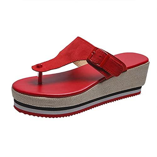 Sandalias de verano con suela gruesa y flores, tacones de cuña, zapatos cómodos, tallas asiáticas, 35 a 43, sandalias de verano, sandalias de mujer, cuñas, zapatos para mujer
