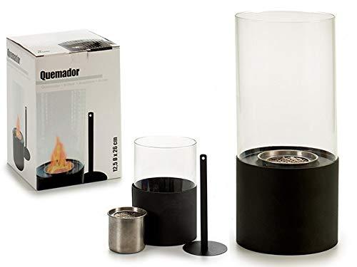 takestop® Lantaarn, bio-ethanol haard van metaal mat zwart cilinder gehard glas 12x12x26 cm besturing vlam design tafeldecoratie