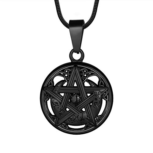 Hipunk Mens Pentagram Pentacle Necklace - Wiccan Pagan Crescent Moon Irish Pendant Magical Star Celtic Knot 316L Stainless Steel Black Gun Plated Tetragrammaton Satanism Jewelry SP0017B