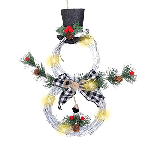 YWZQ Christmas Wreath Hanging Decor Front Door Garland Snowman Pendant with LED Lights Home Party Holiday