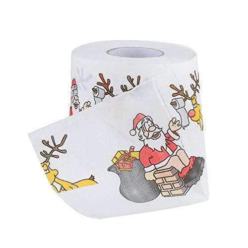 Artistic9 Weihnachten Toilettenpapierrolle lustige Weihnachtsmann Pine Deer Print Bunte Frohe Weihnachten Tissue Serviette Streich Jolly Xmas Birthday Party Neuheit Geschenkidee 170 Blatt 3 Schichten