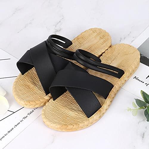 WUHUI Piscina Sandalias de Baño, Mujeres Zapatos de Piscina Chanclas de Playa, Zapatos de Playa para el hogar Femeninos, Zapatillas de Cuerda de Hierba, -2 Black_39