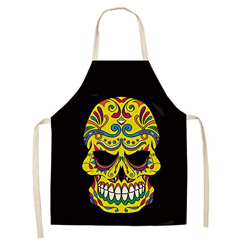 LIUKLAI Skull pattern kitchen apron for cooking sleeveless linen apron adult household cleaning accessories-M1_47x38cm