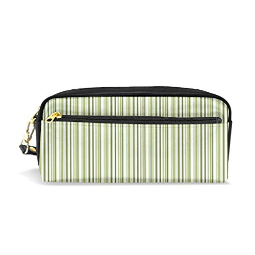 White And Green Stripe Makeup Bag, Pouch Bag Lightweight Cosmetic Bag Toiletries Kit Bag For Travel