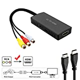 AV to HDMI Converter, RCA to HDMI, Composite CVBS to HDMI Video Audio Converter Adapter, Support PAL/NTSC with USB Charge Cable for Nintendo 64, PC, Laptop, Xbox, VHS, VCR,Camera, DV