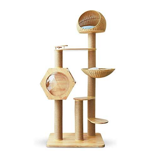 CHENNA Große Katze Klettergerüst, Sisal Säule Kaktus Klettergerüst Rattan Nest, Massivholz-Kratzbaum Cat Turm Katzenbedarf, Four Seasons Universeller