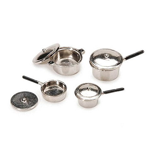 Miniature Silver Stovetop Cookware Set - 0.75 x 1 inch - 8 pieces