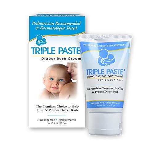 diaper rash creams Triple Paste Diaper Rash Cream, Hypoallergenic Medicated Ointment for Babies, 2 oz