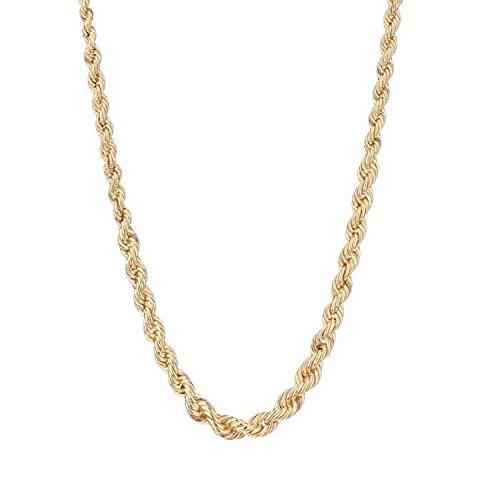 Collar para mujer de oro amarillo auténtico–Cadena de malla tipo cuerda