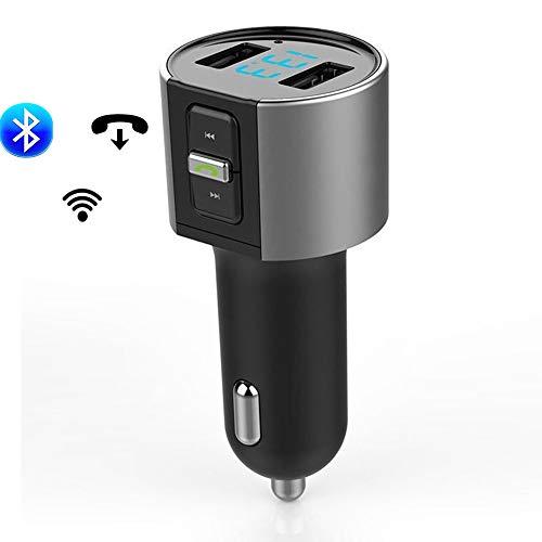 Mxg Bluetooth FM-zender, retro-verlichting, draadloze oplaadadapter, voor autoradio, dubbele USB-aansluiting, opladen voor auto-oproepen met Bluetooth