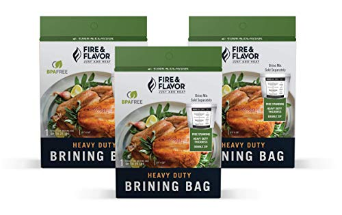 Fire & Flavor Zip Top Disposable Brining Bag for Easy Turkey Meals, 21 X 22 Inches, Pack of 3 (Packaging May Vary)
